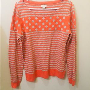 Long Sleeve Striped & Polka Dot J Crew Top
